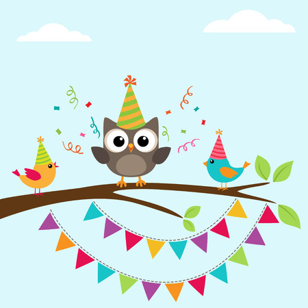 Ilustración de happy birthday greeting card with birds on tree - Imagen libre de derechos