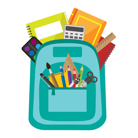 Illustration pour Open vector bag with school stationery and supllies. Back to school illustration - image libre de droit