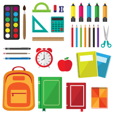 Vector set of school supplies. Back to school background with stationery