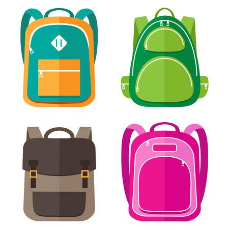 Illustration pour Vector set of kids school bags - image libre de droit