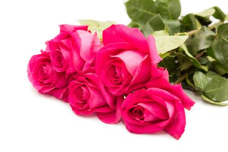 Photo for Bouquet of five pink roses isolated on a white background - Royalty Free Image