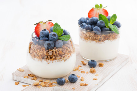 diet dessert with yogurt, granola and fresh berries, horizontal