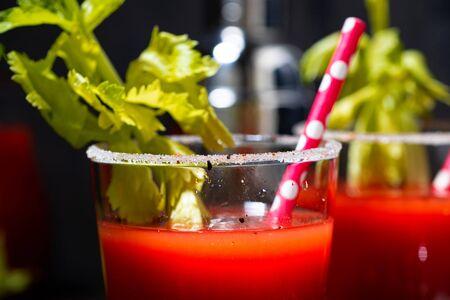 Photo pour bloody mary alcoholic cocktail in glasses, closeup horizontal - image libre de droit