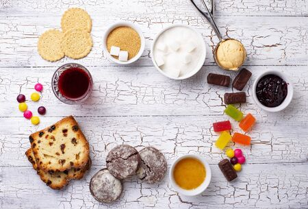 Photo pour Unhealthy products high in sugar. Simple carbohydrates food. - image libre de droit