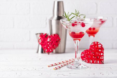 Photo for Cranberry margarita cocktail. Festive Valentines day drink - Royalty Free Image