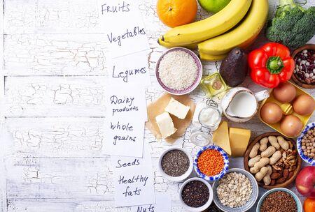 Photo pour Ovo-lacto vegetarian diet concept. Fruits, vegetables, dairy products, eggs, seeds, healthy fats and grains - image libre de droit