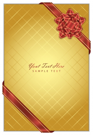 Vector gold background with red bow