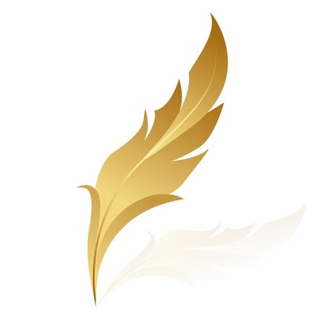 Illustration pour Vector illustration of golden feather - image libre de droit