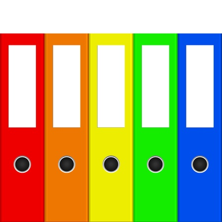 Vector illustration of colorful binders