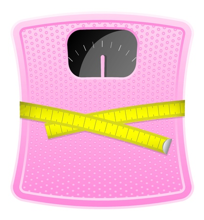 illustration of  pink bathroom scale with measuring tape