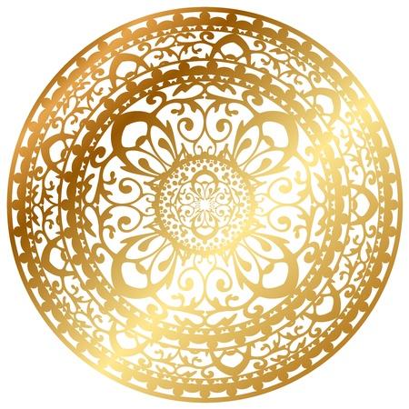 Illustration pour Vector illustration of gold oriental rug   napkin - image libre de droit