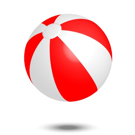 Vector illustration of red   white beach ball
