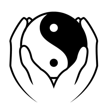 Ilustración de Vector illustration of hands holding yin yang symbol - Imagen libre de derechos