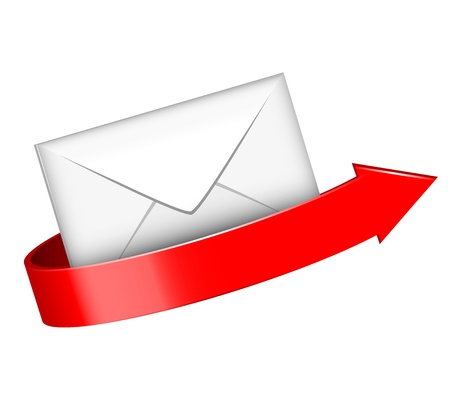 illustration of envelope and red arrow