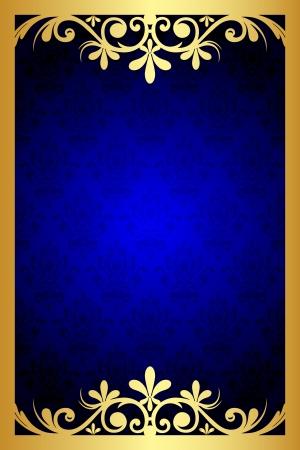 Illustration for Vector gold and blue floral frame - Royalty Free Image