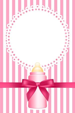 Illustration pour pink background with baby bottle - image libre de droit