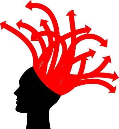 illustration of head with red arrows