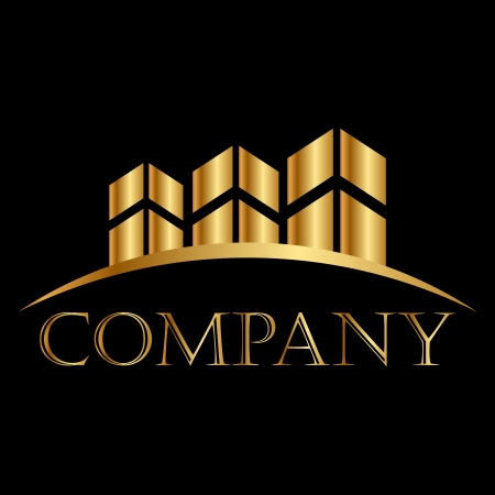 Vector gold buildings icon white space for your text