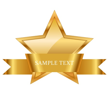 illustration of gold star award with shiny ribbon with space for your text