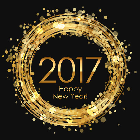 Vector 2017 Happy New Year glowing background