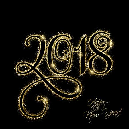 Ilustración de Happy New Year 2018 with gold glitter - Imagen libre de derechos