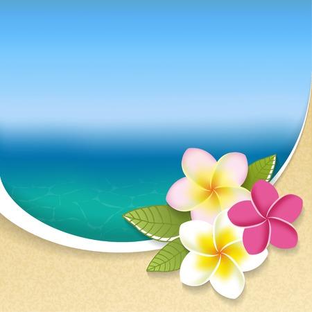 Illustration pour Plumeria flowers on a seaside view background. Vector illustration - image libre de droit