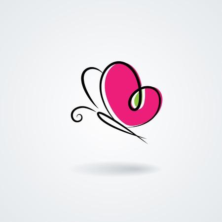 Ilustración de Hand-drawn butterfly with a heart\'s shape wings - Imagen libre de derechos
