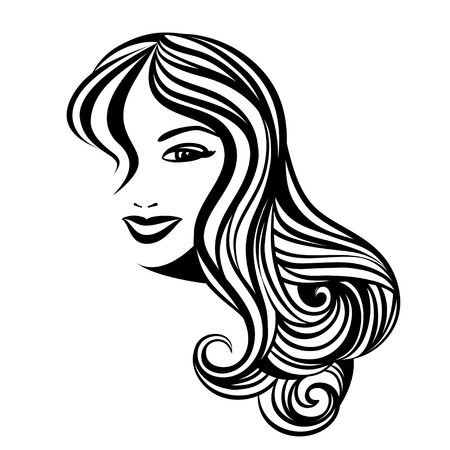 Illustration for Lady with a long hair portrait - Royalty Free Image