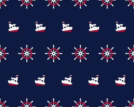 Sea and nautical seamless pattern with ship and steering wheel