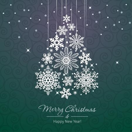 White snowflake Christmas tree on green background. Christmas vector card