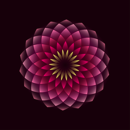 Illustration pour Pink flower geometrical sign isolated on black background. illustration - image libre de droit