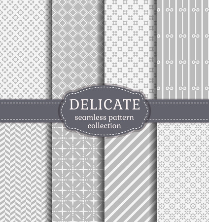 Abstract seamless patterns in delicate white and gray colors. Set of backgrounds with geometric and floral ornaments. Vector collection.