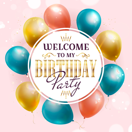 Illustration for Birthday party invitation with colorful balloons. Vector banner. - Royalty Free Image