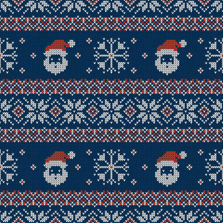 Illustration pour Knitted seamless pattern with Santa Clauses, snowflakes and scandinavian ornaments. Vector background. Blue, red and white sweater print. - image libre de droit