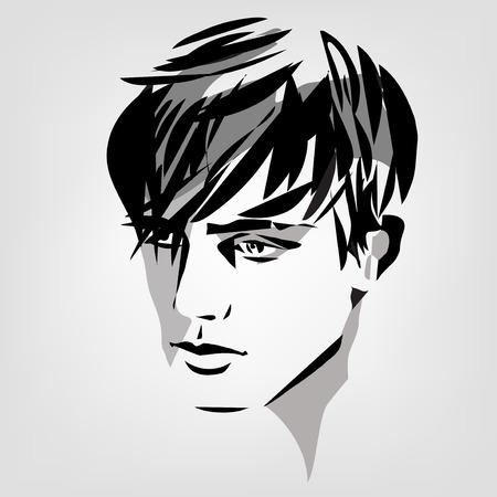 vector monochrome portrait of young man