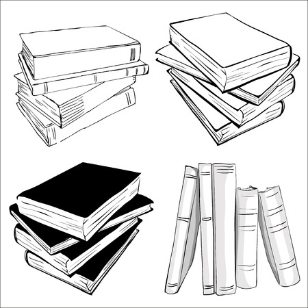 Illustration pour Books set. Opened and closed books,  stacked books and single book isolated on white background. - image libre de droit