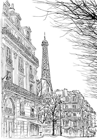 Illustration pour sketch of Parisian street with trees and the Eiffel Tower in the background - image libre de droit