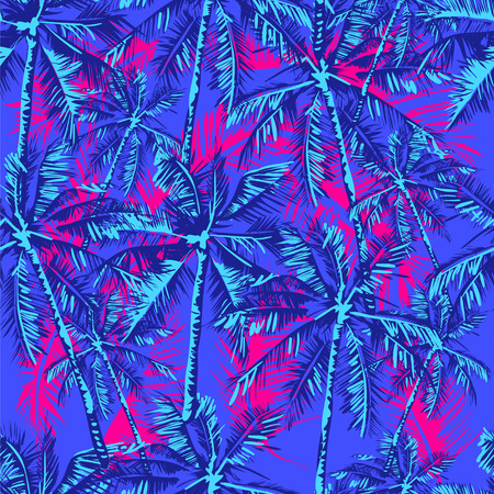 Illustration pour Seamless tropical pattern depicting palm trees on the bright pink background - image libre de droit
