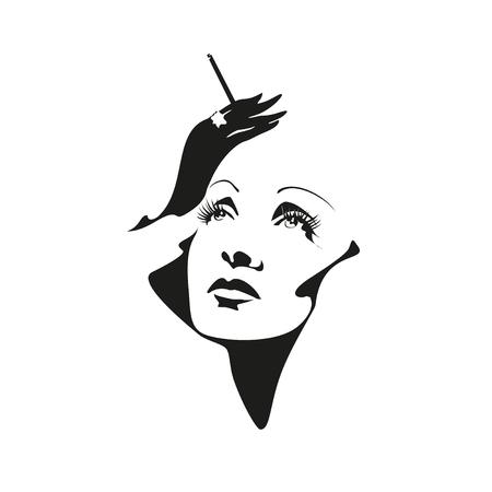Illustration pour Vector stylized portrait of Marlene Dietrich - image libre de droit