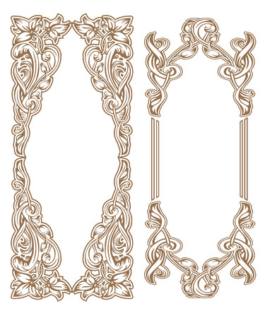 Illustration pour Vintage Art Nouveau frame composed of vignettes, leaves and flowers of golden color on a white background - image libre de droit