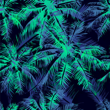 Ilustración de Seamless vector  tropical pattern depicting  white palm tree on a black background - Imagen libre de derechos