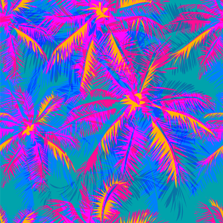 Illustration for tropical pattern depicting pink and purple palm trees with  with yellow highlights reflections on a turquoise background - Royalty Free Image