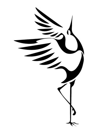 Ilustración de stylized image of the dancing cranes isolated on a white background. vector - Imagen libre de derechos