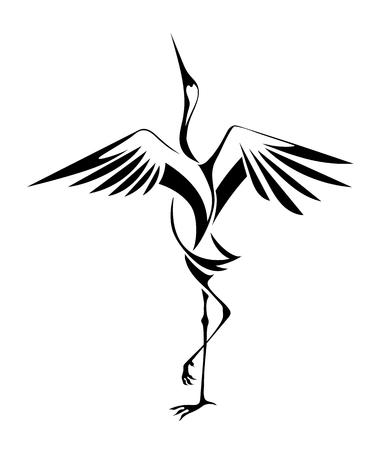 Ilustración de decorative image of dancing cranes isolated on a white background. vector - Imagen libre de derechos