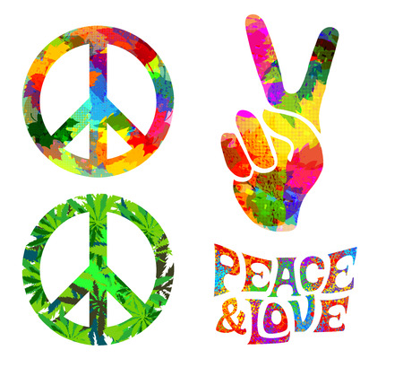 Illustration pour set of Pacifik hippie symbol and words - image libre de droit