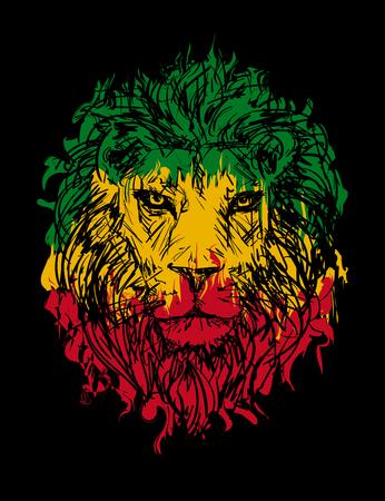 Rasta theme with lion head on black background. Vector illustration.