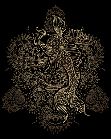 Illustration pour Hand drawn Asian spiritual symbols - koi carp with lotus and waves. It can be used for tattoo and embossing or coloring - image libre de droit