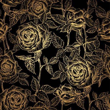 Illustration pour hand drawn gold elegant seamless pattern of roses and petals in old engraving style. Gold rose on a black background - image libre de droit