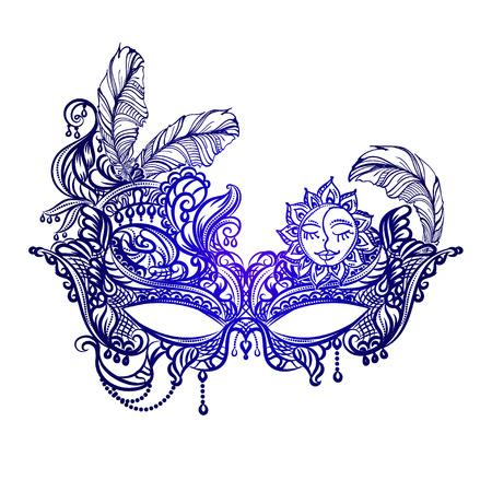 Illustration pour Hand drawn face masks in the style of Boho Chic. Festival Mardi Gras, masquerade. - image libre de droit