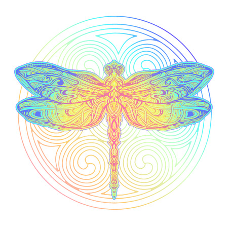 Illustration pour Dragonfly vector tattoo - image libre de droit